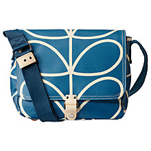 Buy Orla Kiely Giant Linear Stem Small Satchel, Marine Online at johnlewis.com
