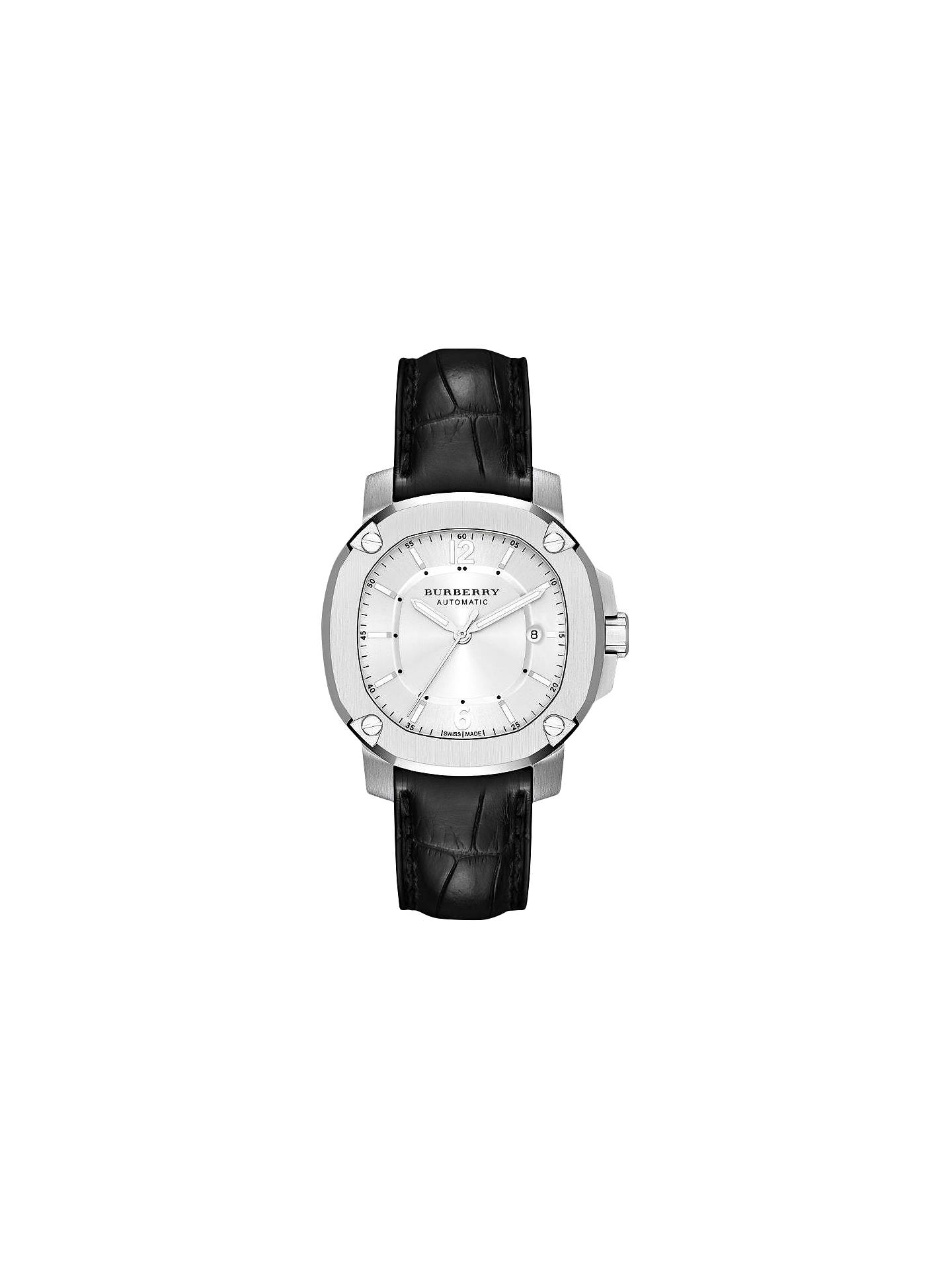 9a17a34b1144 Buy Burberry BBY1206 Men's Britain Automatic Date Leather Strap Watch, Black/Silver  Online at