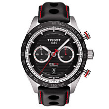 Buy Tissot T1004271605100 Men's PR100 Automatic Chronograph Date Leather Strap Watch, Black Online at johnlewis.com