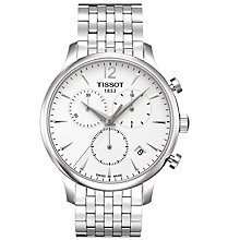 Buy Tissot T0636171103700 Men's Tradition Chronograph Date Bracelet Strap Watch, Silver/White Online at johnlewis.com