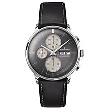 Buy Junghans 027/4525.01 Men's Meister Automatic Chronoscope Day Date Leather Strap Watch, Black/Grey Online at johnlewis.com