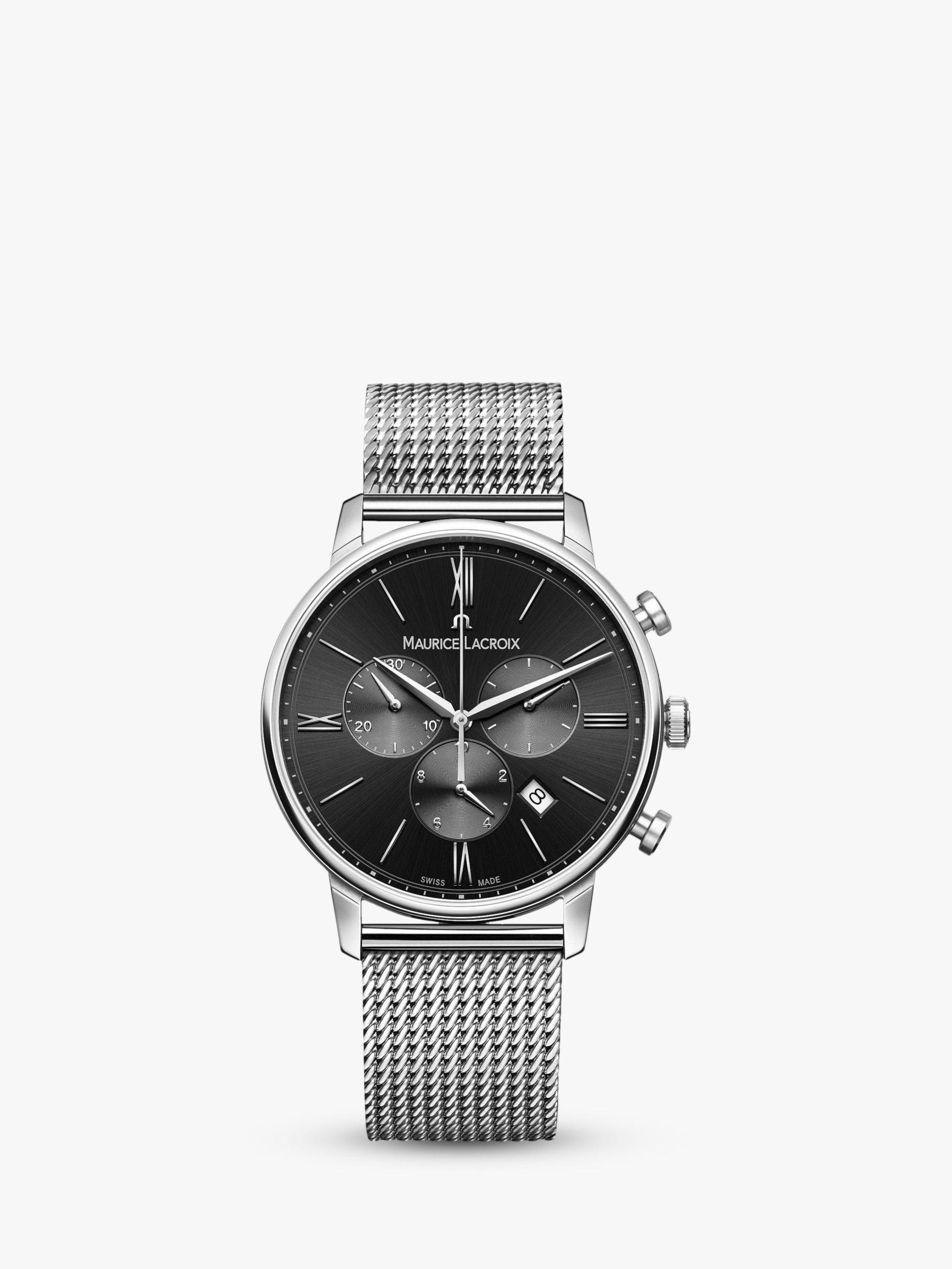 Maurice Lacroix Maurice Lacroix EL1098-SS002-310-1 Men's Eliros Chronograph Date Bracelet Strap Watch, Silver/Black