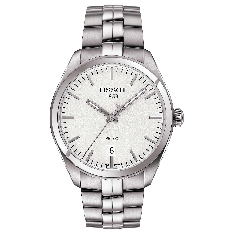 Cheap New Tissot T1014101103100 Pr100 Date Bracelet Strap Watch Silver/White for Men Online Online Sale