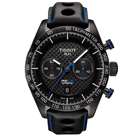 tissot men s watches john lewis buy tissot t1004273620100 men s prs 516 automatic chronograph date leather strap watch black online at