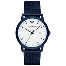 Buy Emporio Armani AR11025 Men's Date Bracelet Strap Watch, Navy/White Online at johnlewis.com