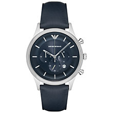 Buy Emporio Armani AR11018 Men's Chronograph Date Leather Strap, Midnight Blue Online at johnlewis.com