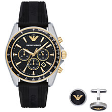 Buy Emporio Armani AR80003 Men's Chronograph Date Watch and Cufflinks Gift Set, Black Online at johnlewis.com