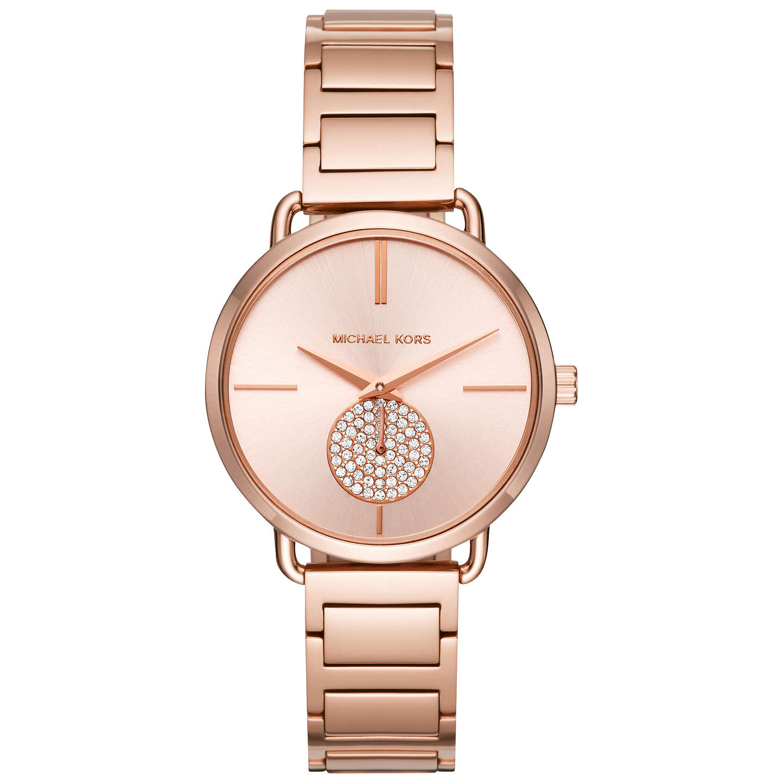 Michael Kors Mk3640 Women S Portia Crystal Bracelet Strap Watch Rose Gold Online At Johnlewis