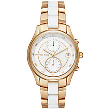 Buy Michael Kors MK6466 Women's Briar Chronograph Date Bracelet Strap Watch, Gold/White Online at johnlewis.com