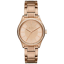 Buy Armani Exchange AX5442 Women's Crystal Bracelet Strap Watch, Rose Gold Online at johnlewis.com