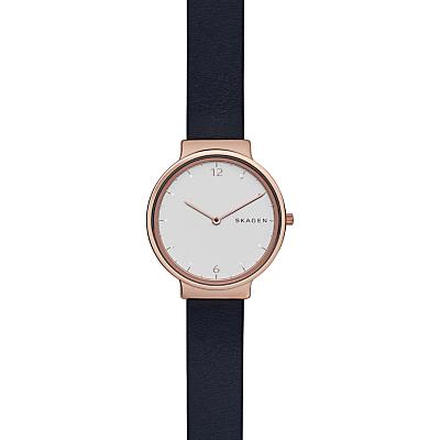 Skagen SKW2608 Women's Ancher Leather Strap Watch, French Navy/White