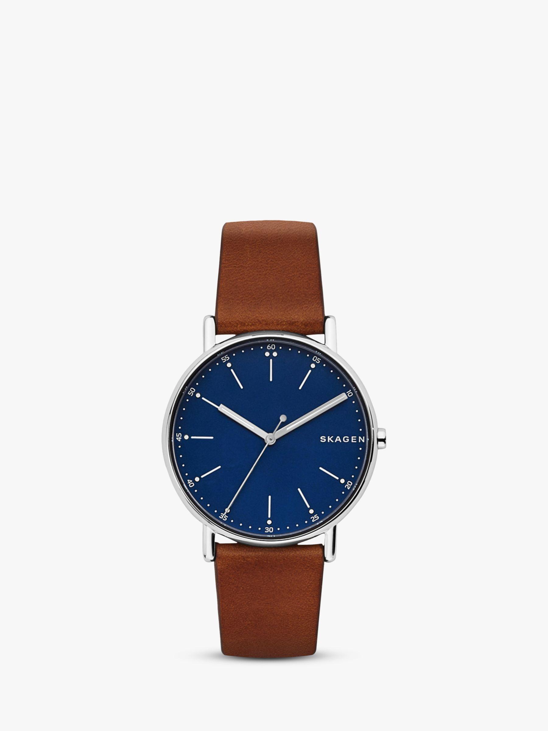 skagen Skagen Men's Signatur Leather Strap Watch