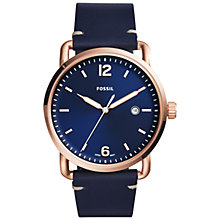 Buy Fossil Men's Commuter Date Leather Strap Watch Online at johnlewis.com