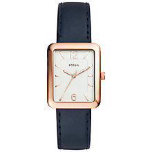 Buy Fossil ES4158 Women's Atwater Leather Strap Watch, Navy/White Online at johnlewis.com