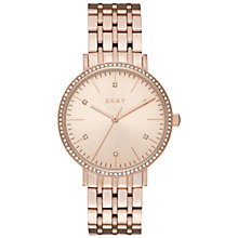 Buy DKNY NY2608 Women's Minetta Crystal Bracelet Strap Watch, Rose Gold Online at johnlewis.com