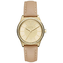Buy Armani Exchange AX5443 Women's Crystal Leather Strap Watch, Nude/Gold Online at johnlewis.com