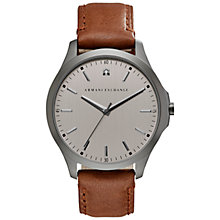 Buy Armani Exchange AX2195 Men's Leather Strap Watch, Brown/Gunmetal Online at johnlewis.com