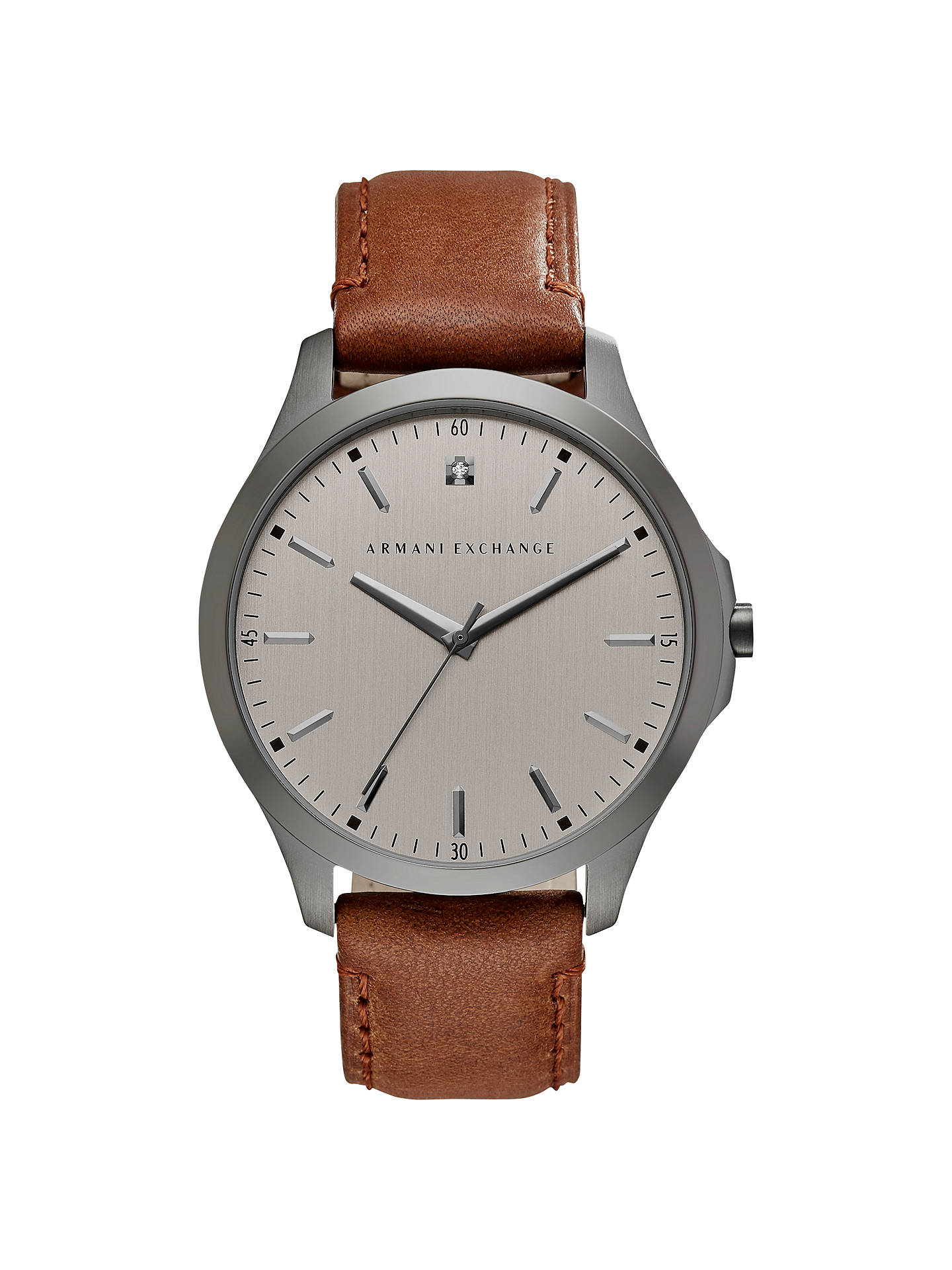 BuyArmani Exchange AX2195 Men's Leather Strap Watch, Brown/Gunmetal Online at johnlewis.com