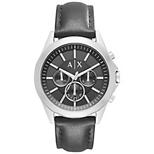 Buy Armani Exchange AX2604 Men's Chronograph Leather Strap Watch, Black Online at johnlewis.com