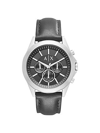 Armani Exchange AX2604 Men's Chronograph Leather Strap Watch, Black