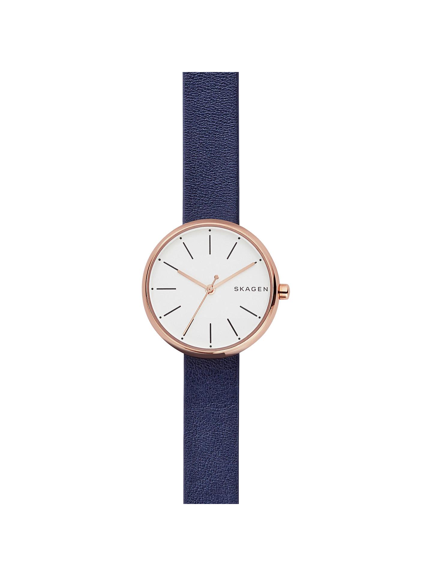 c2e90e9ef Buy Skagen SKW2592 Women's Signatur Leather Strap Watch, Navy/White Online  at johnlewis.