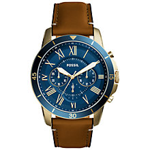 Buy Fossil FS5268 Men's Grant Chronograph Leather Strap Watch, Tan/Blue Online at johnlewis.com