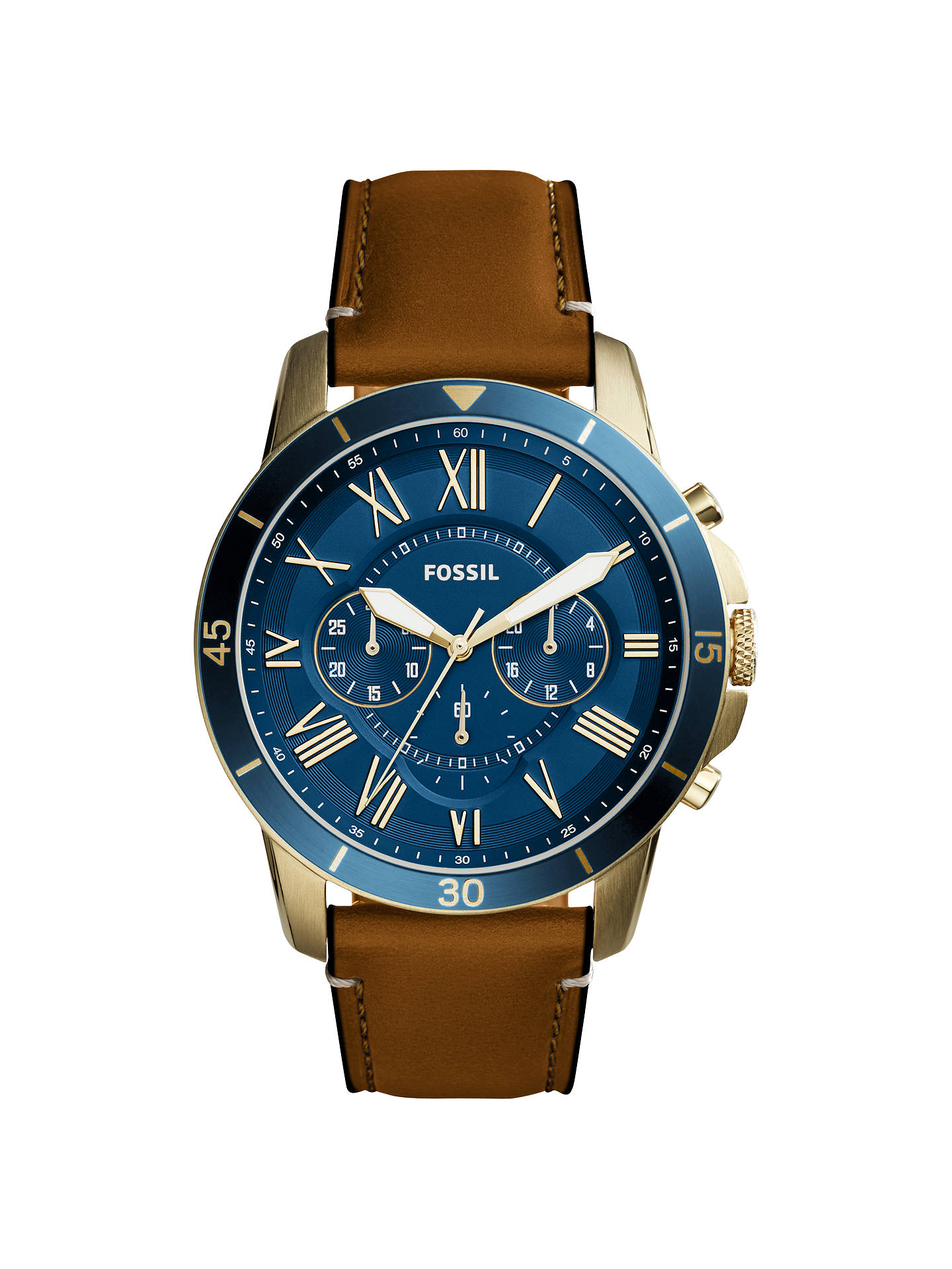 BuyFossil FS5268 Men's Grant Chronograph Leather Strap Watch, Tan/Blue Online at johnlewis.com