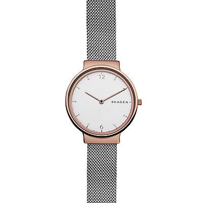 Skagen SKW2616 Women's Ancher Mesh Bracelet Strap Watch, Silver/White