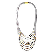 Buy Adele Marie Cord Square Bead Layered Necklace, Silver/Gold Online at johnlewis.com
