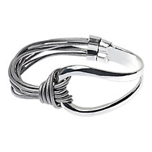 Buy Adele Marie Shiny Multi Strap Leather Bracelet, Silver/Grey Online at johnlewis.com