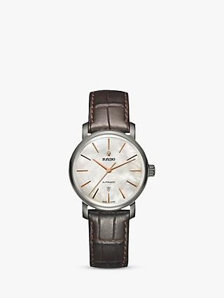 Rado R14026926 Unisex Diamaster Date Automatic Leather Strap Watch, Brown/Mother of Pearl