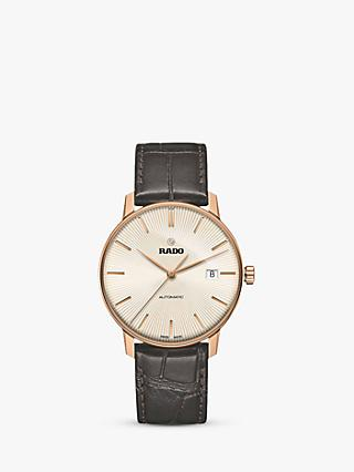 Rado R22861115 Unisex Coupole Classic Date Automatic Leather Strap Watch, Dark Brown/Gold