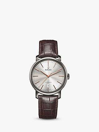 Rado R14074106 Unisex Diamaster Date Automatic Leather Strap Watch, Dark Brown/Silver