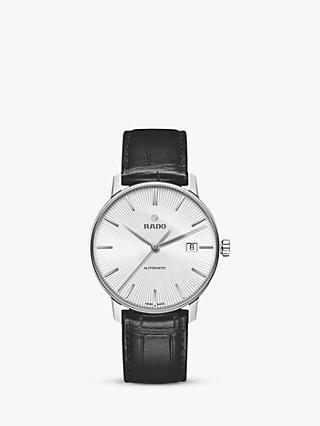 Rado R22860015 Unisex Coupole Classic Date Automatic Leather Strap Watch, Black/Silver