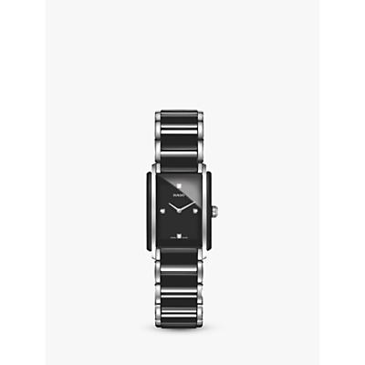 Rado R20613712 Women's Integral Diamond Ceramic Bracelet Strap Watch, Black/Silver