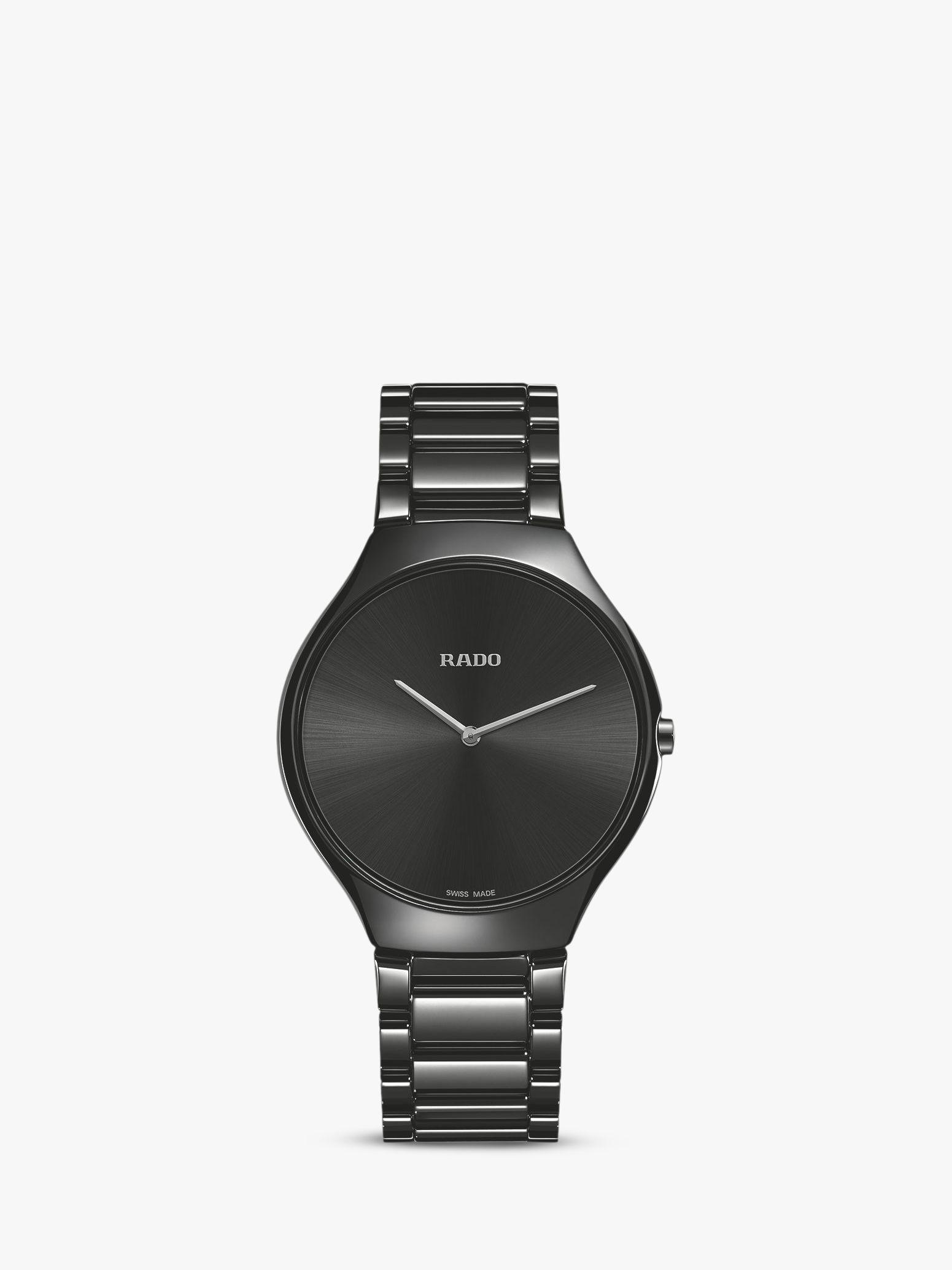 2ffecf28e Rado R27741182 Unisex True Thinline Ceramic Bracelet Strap Watch, Black at  John Lewis & Partners