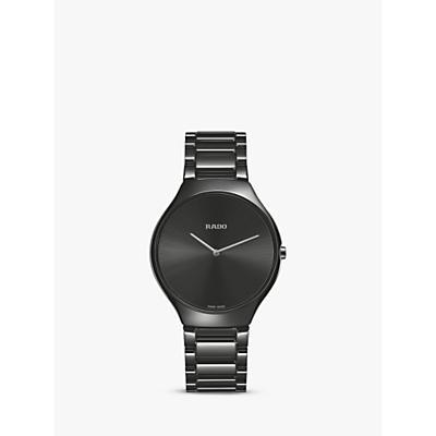 Rado R27741182 Unisex True Thinline Ceramic Bracelet Strap Watch, Black