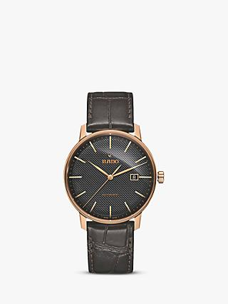 Rado R22877165 Unisex Coupole Classic Date Automatic Leather Strap Watch, Brown