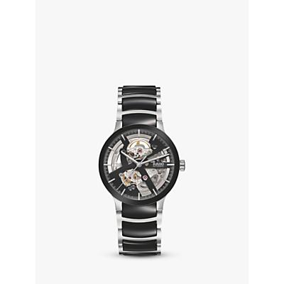 Rado R30178152 Unisex Centrix Automatic Skeleton Bi-Material Bracelet Strap Watch, Silver/Black