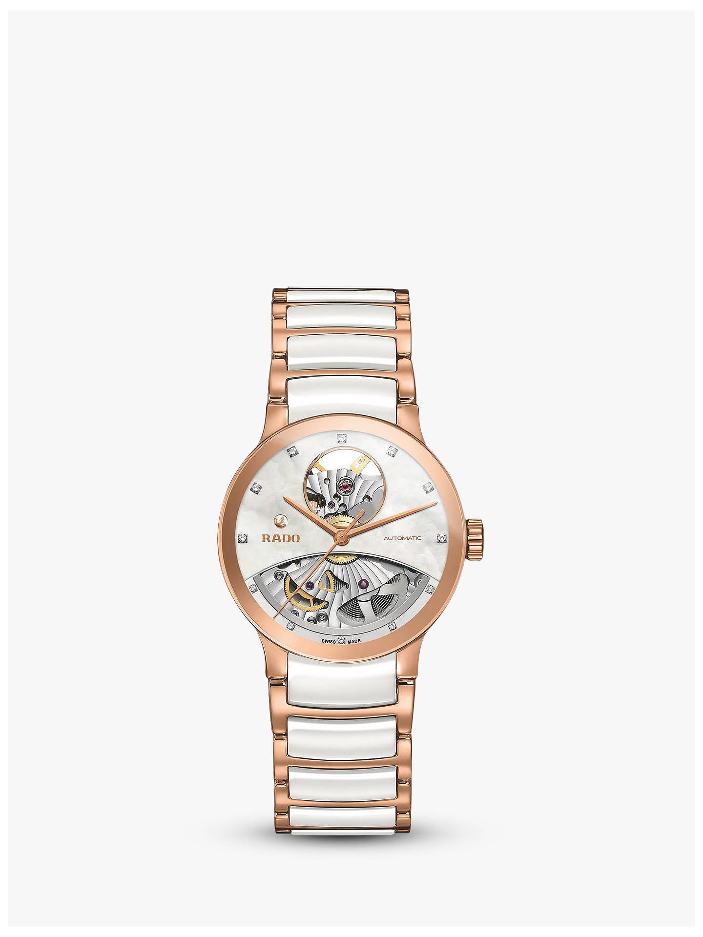 f7946e866 Buy Rado R30248902 Women's Centrix Automatic Skeleton Diamond Bi-Material  Bracelet Strap Watch, Rose ...