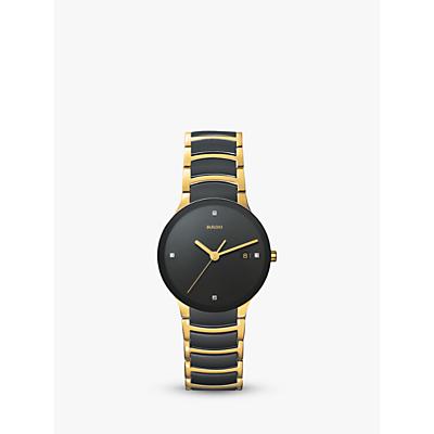 Rado R30929712 Unisex Centrix Diamond Date Bi-Material Bracelet Strap Watch, Black/Gold