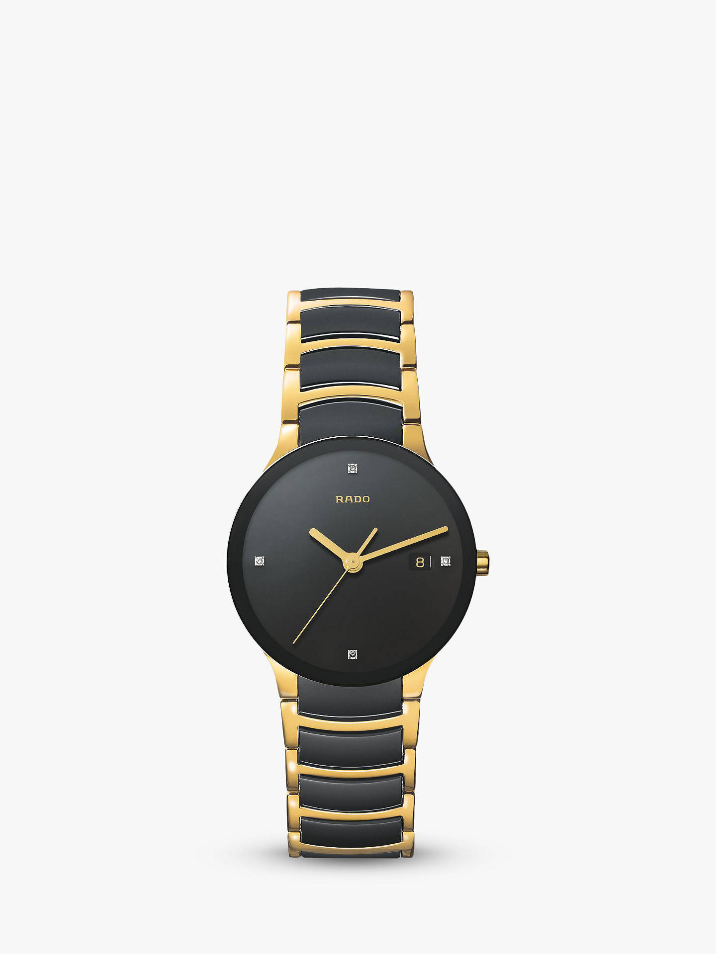 a01a15f47 Buy Rado R30929712 Unisex Centrix Diamond Date Bi-Material Bracelet Strap  Watch, Black/ ...