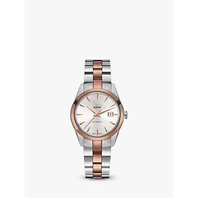 Rado R32087112 Unisex Hyperchrome Automatic Date Bi-Material Bracelet Strap Watch, Silver/Rose Gold