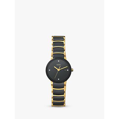 Rado R30930712 Women's Centrix Jubile Diamond Bi-Material Bracelet Strap Watch, Gold/Black