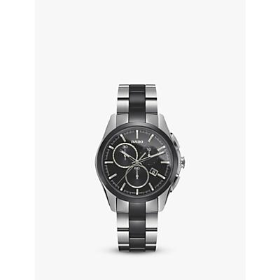 Rado R32038152 Unisex Hyperchrome Chronograph Date Bi-Material Bracelet Strap Watch, Silver/Black