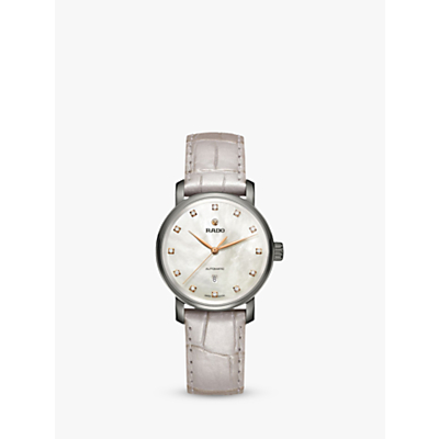 Rado R32118102 Unisex Diamaster Diamond Date Automatic Leather Strap Watch, Cream/Pearl