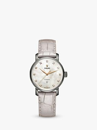 Rado R32118102 Unisex Diamaster Diamond Date Automatic Leather Strap Watch, Cream/Pearl