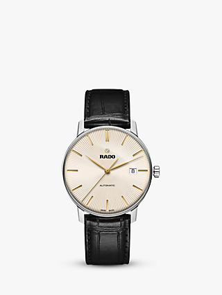 Rado R22860105 Men's Coupole Classic Date Automatic Leather Strap Watch, Black/Gold