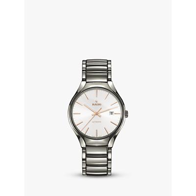 Rado R27057112 Unisex True Automatic Ceramic Bracelet Strap Watch, Silver/White