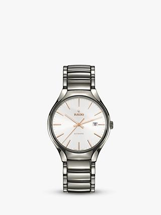 Rado R27057112 Unisex True Automatic Ceramic Bracelet Strap Watch, Silver/White